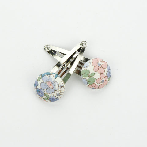 Covered Button Snap Clip Pair  - Japanese Lawn Fabric