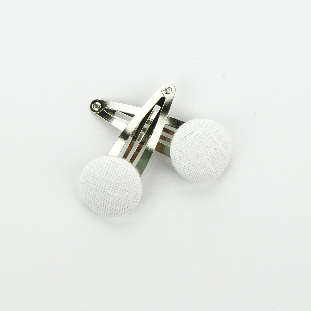 Covered Button Snap Clip Pair - White Linen