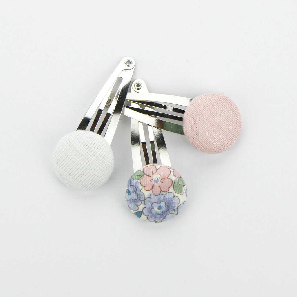 Covered Button Snap Clip Pair - Pretty Floral - Set of 3