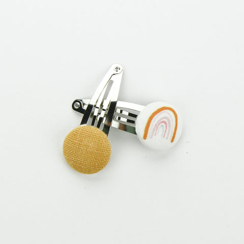 Covered Button Snap Clip Pair - Exclusive Rainbow Mustard