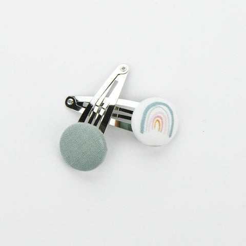 Covered Button Snap Clip Pair - Exclusive Rainbow Seafoam