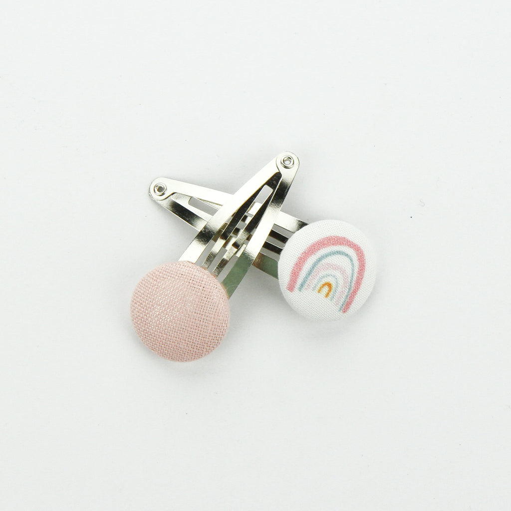 Covered Button Snap Clip Pair - Exclusive Rainbow Blush