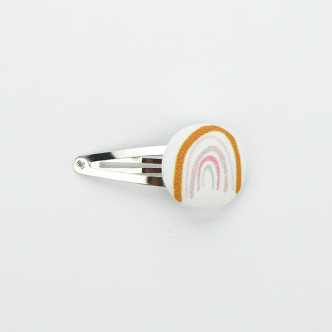Covered Button Snap Clip - Exclusive Rainbow Mustard