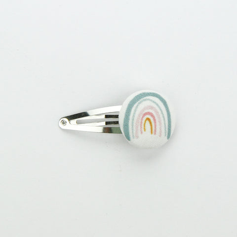 Covered Button Snap Clip - Exclusive Rainbow Seafoam - 28mm