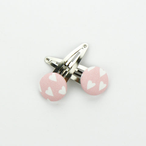 Covered Button Snap Clip Pair - PS, I Love You.