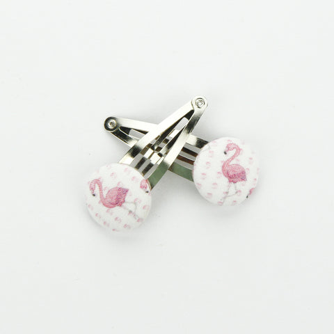 Covered Button Snap Clip Pair - Exclusive Erol Flamingo