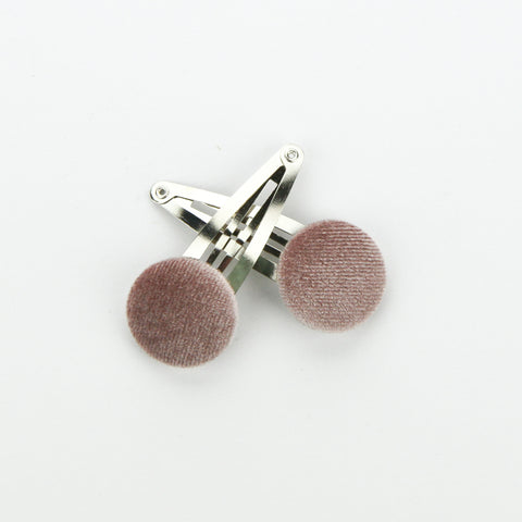 Covered Button Snap Clip Pair - Dusty Pink - Velvet