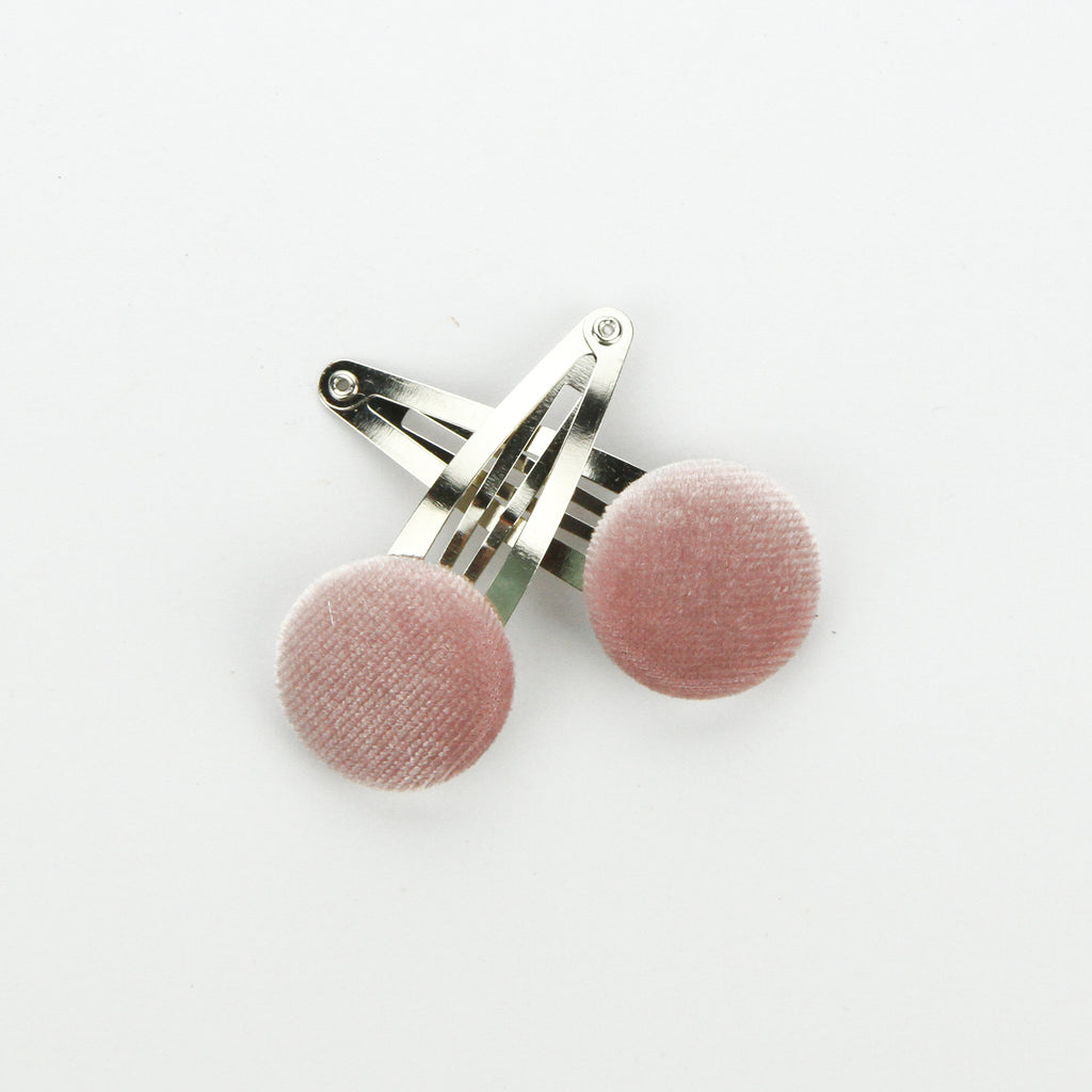 Covered Button Snap Clip Pair - Light Dusty Pink Velvet