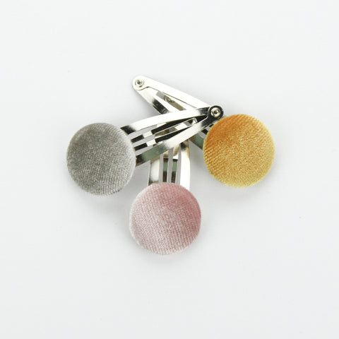 Covered Button Snap Clip Pair - Must Have - Velvet Set of 3