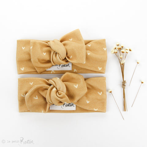 AW19 Organic Cotton Bow Knot Headband - Mustard Heart