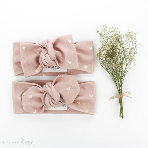 Valentines Organic Cotton Bow Knot Headband - Dusty Pink Heart