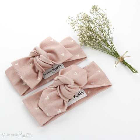 AW19 Organic Cotton Top Knot Headband - Dusty Pink Heart