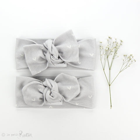AW19 Organic Cotton Bow Knot Headband - Cloud Grey Heart