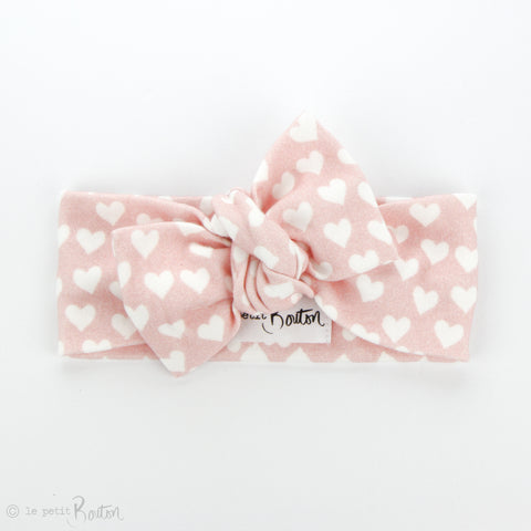 AW19 Organic Cotton Bow Knot Headband - I Heart You - LAST ONE!