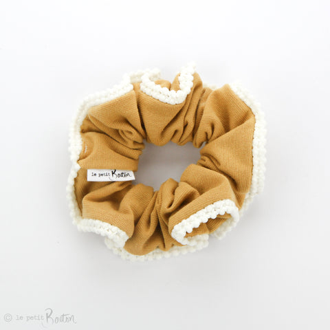 Luxe Statement Scrunchie - Organic Cotton with Pom Pom Trim - Mustard