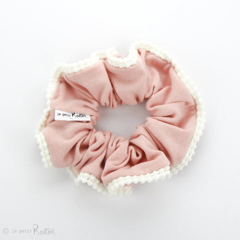 Luxe Statement Scrunchie - Organic Cotton with Pom Pom Trim - Dusty Pink