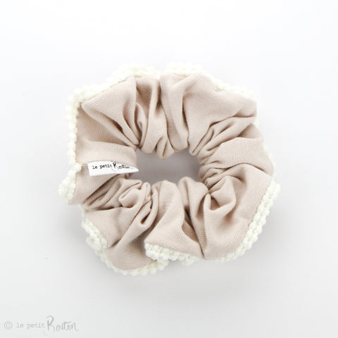 Luxe Statement Scrunchie - Organic Cotton with Pom Pom Trim - Sand