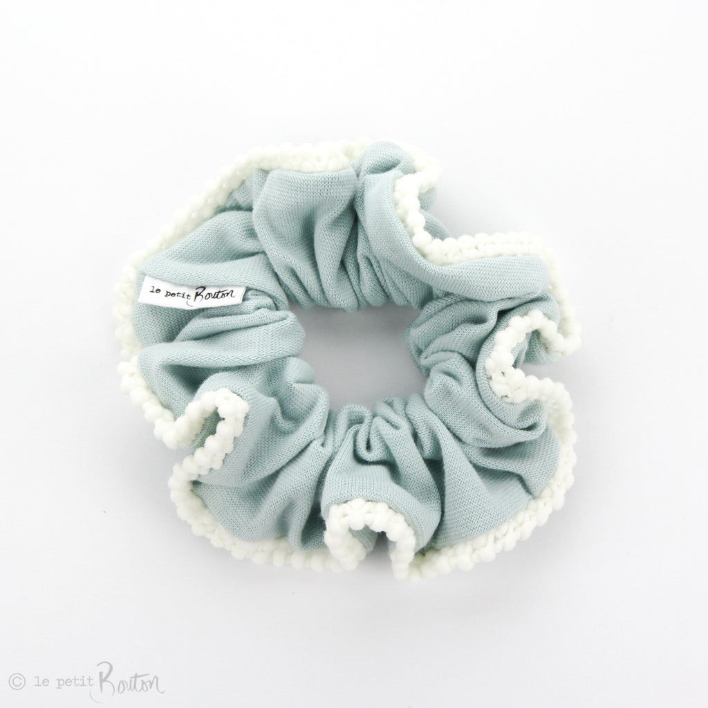 Luxe Statement Scrunchie - Organic Cotton with Pom Pom Trim - Ocean