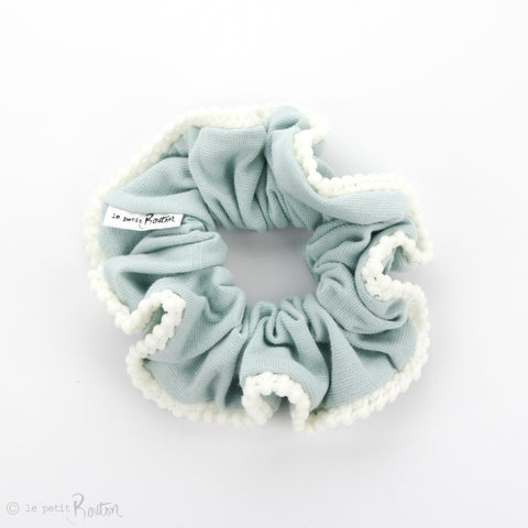 Scrunchie - Organic Cotton with Pom Pom Trim - Ocean