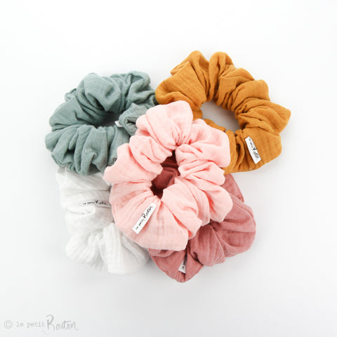 Luxe Statement Scrunchie - Double Gauze - White