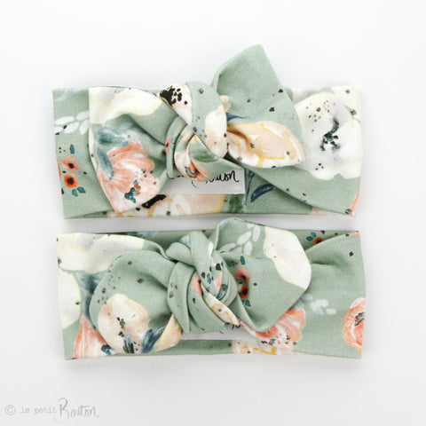 Organic Cotton Bow Knot Headband - Sage Romance