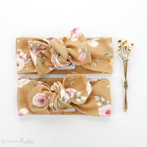 AW19 Organic Cotton Bow Knot Headband - Caramel Bloom