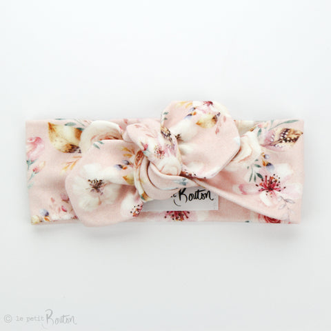 AW19 Organic Cotton Top Knot Headband - Marshmallow Bloom