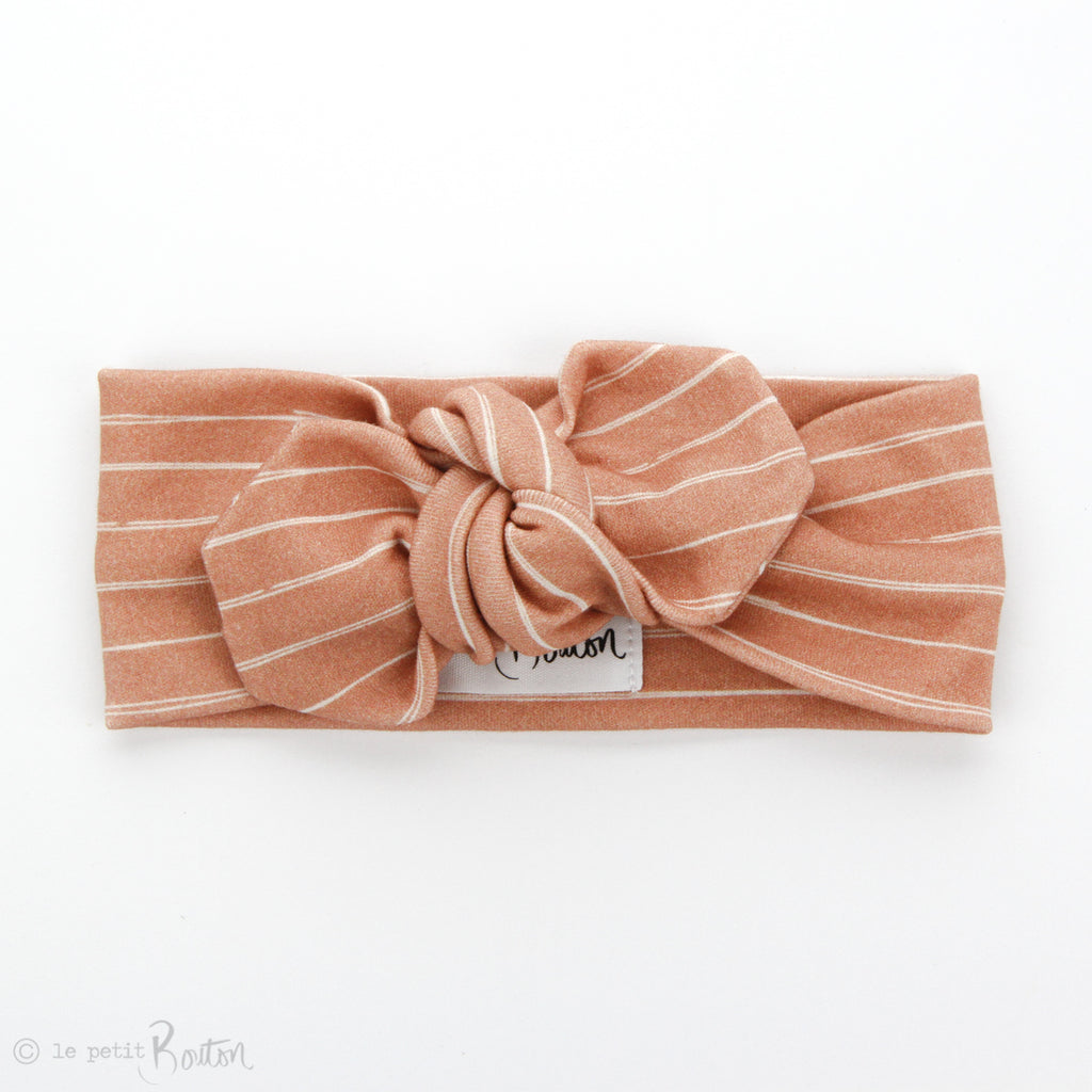 Organic Cotton Top Knot Headband - Vintage Stripe