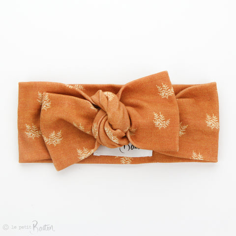 AW19 Organic Cotton Bow Knot Headband - Rust Fern