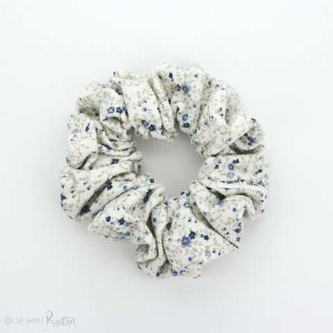 Luxe statement Scrunchie - Winter Floral - Snow Corduroy