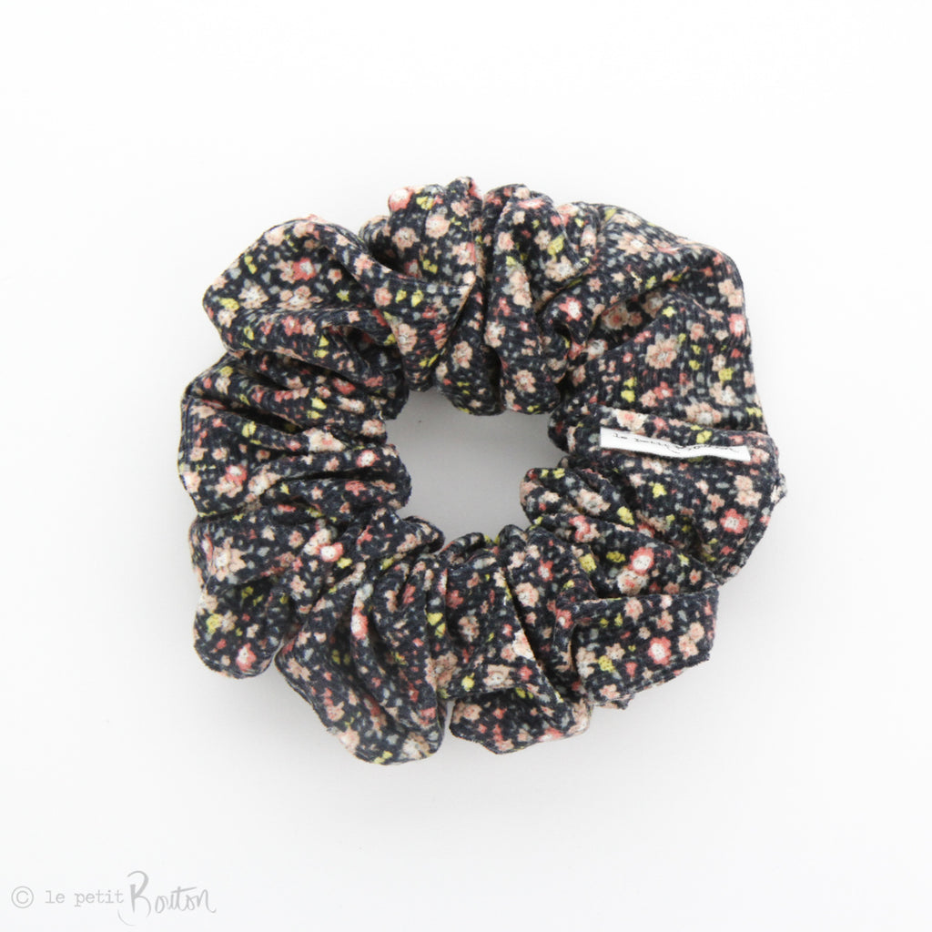 luxe Statement Scrunchie - Winter Floral - Navy Corduroy