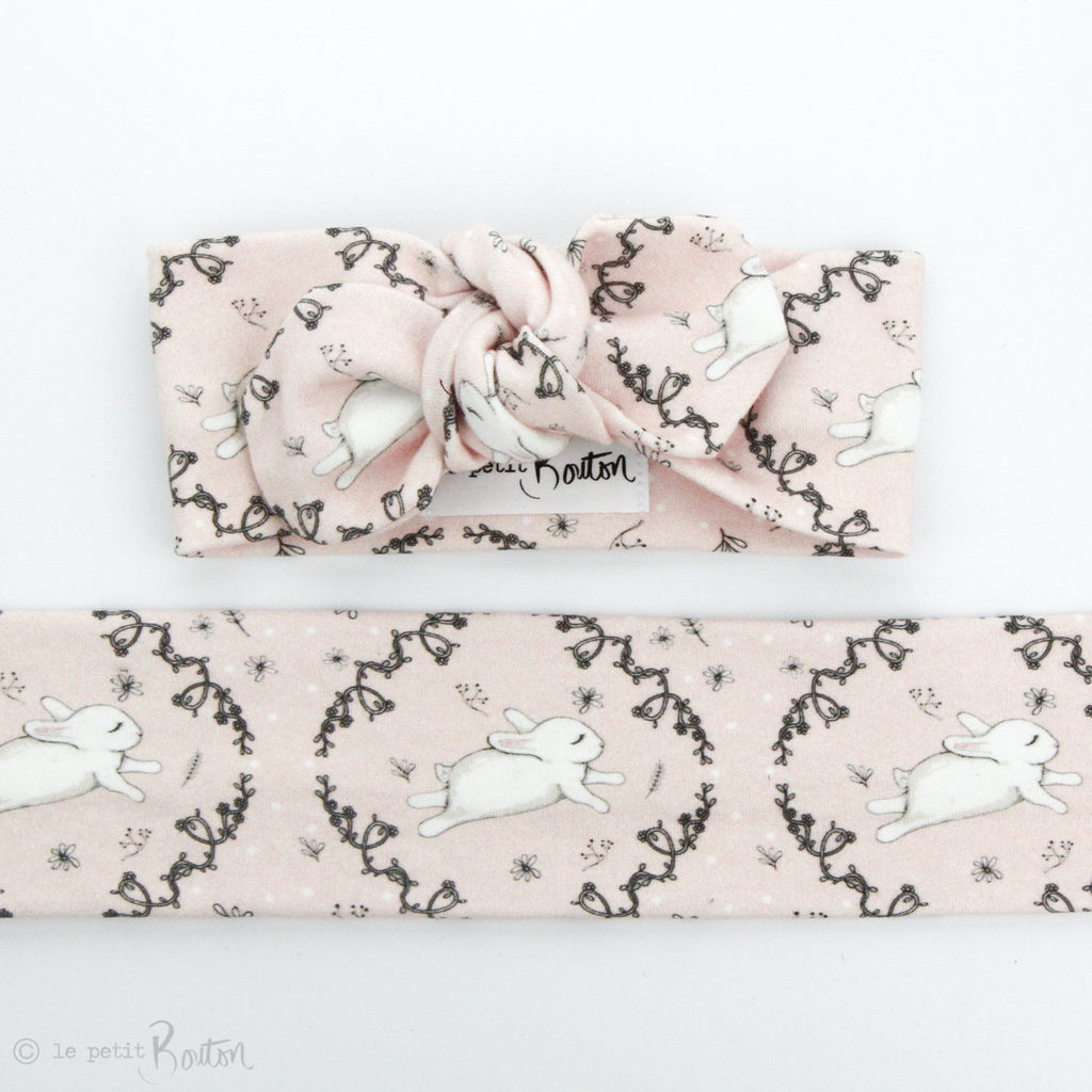 Easter Organic Cotton Top Knot Headband - Blushing Bunny