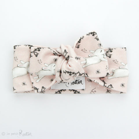 Easter Organic Cotton Bow Knot Headband - Blushing Bunny