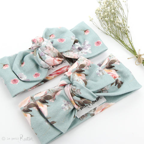 AW19 Organic Cotton Bow Knot Headband - Ocean Floral