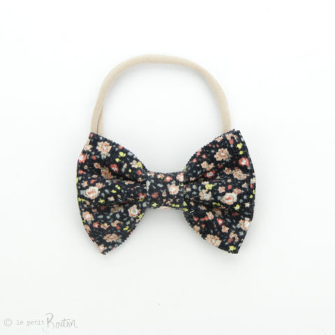 AW19 Corduroy Large Bow on Nylon Headband - Navy Wildflowers