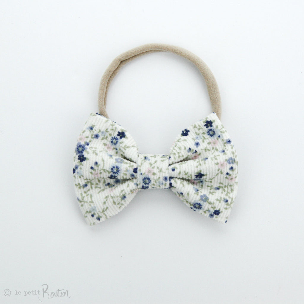 AW19 Corduroy Large Bow on Nylon Headband - Dainty Bloom