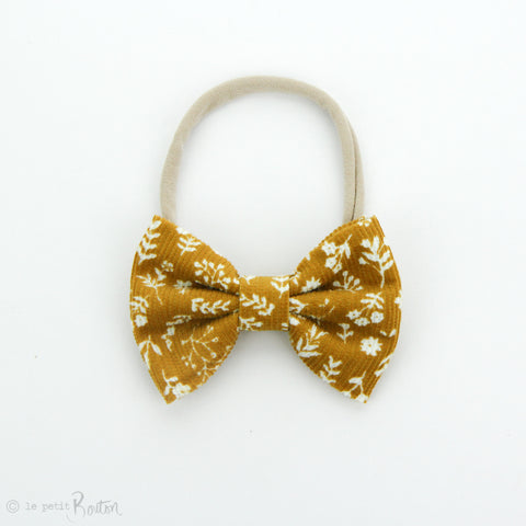 AW19 Corduroy Large Bow on Nylon Headband - Mustard Floral