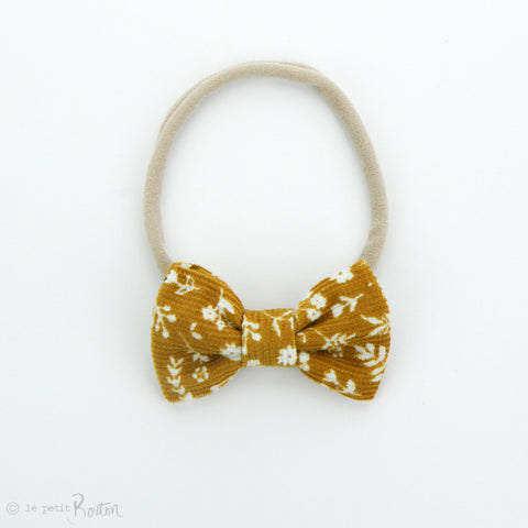 AW19 Corduroy Small Bow on Nylon Headband - Mustard Floral