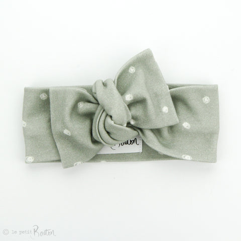 AW19 Organic Cotton Bow Knot Headband - Sage Dots