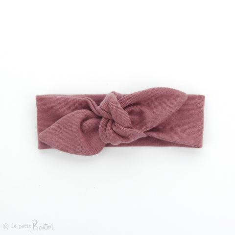 AW19 Newborn Organic Cotton Ribbed Top Knot Headband - Vintage Rose