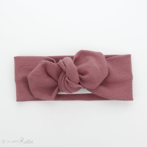AW19 Organic Cotton Ribbed Top Knot Headband- Vintage Rose