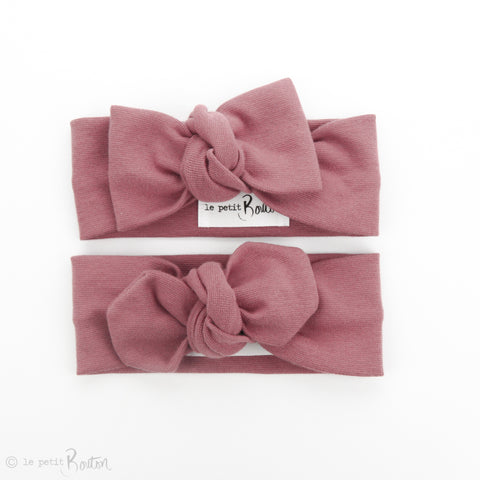 AW19 Organic Cotton Ribbed Bow Knot Headband - Vintage Rose
