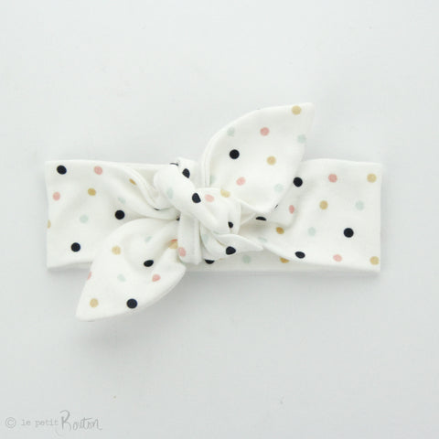 Newborn Organic Cotton Top Knot Headband - Pretty Polka