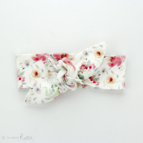 Newborn Organic Cotton Top Knot Headband - Raspberry Floral