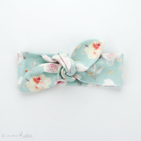 Newborn Organic Cotton  Top Knot Headband - Sky Floral - 2 LEFT