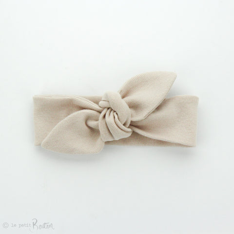 Newborn Organic Cotton Ribbed Top Knot Headband - Sand