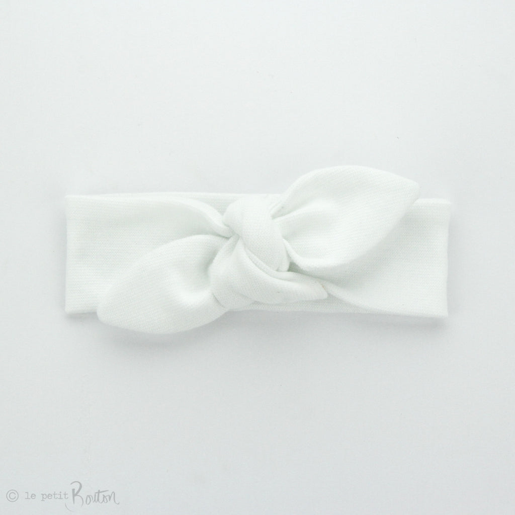 Newborn Organic Cotton Ribbed Top Knot Headband - Coconut