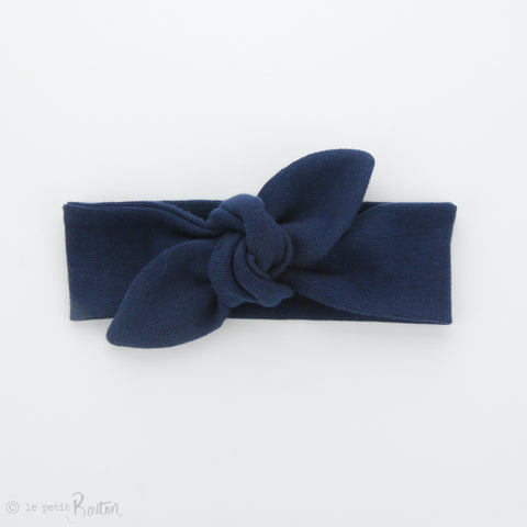 Newborn Organic Cotton Ribbed Top Knot Headband - Light Navy