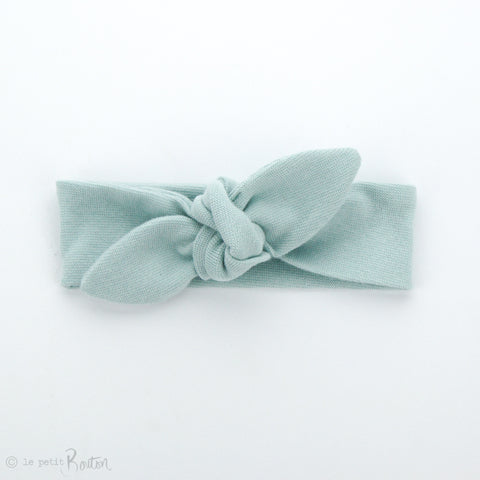 Newborn Organic Cotton Ribbed Top Knot Headband - Muted Green