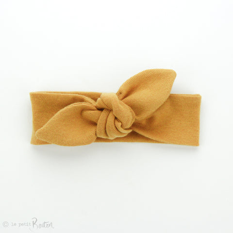 Newborn Organic Cotton Ribbed Top Knot Headband - Mustard